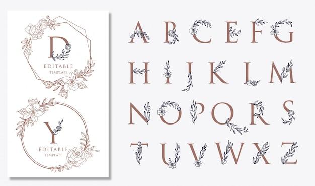Logo de mariage avec motifs floraux, pour modèles de logo, invitations et pour tous les besoins