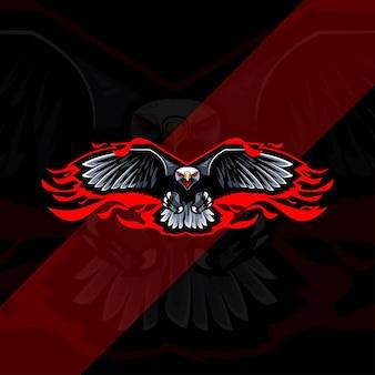 Logo de mascotte d'aigle de mouche