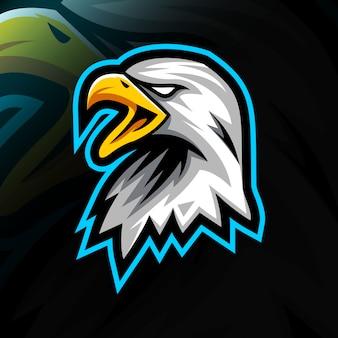 Logo de mascotte aigle tête design e-sport