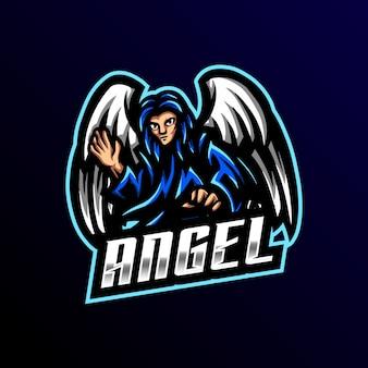 Logo mascotte ange esport gaming
