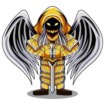 Logo de la mascotte angel chibi
