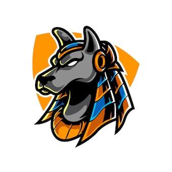 Logo mascotte anubis e sport