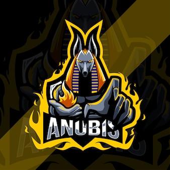 Logo de la mascotte anubis effrayé