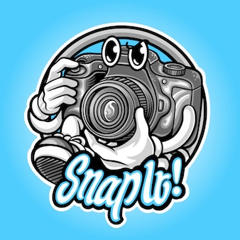 Logo de mascotte d'appareil photo pour la photographie illustration premium