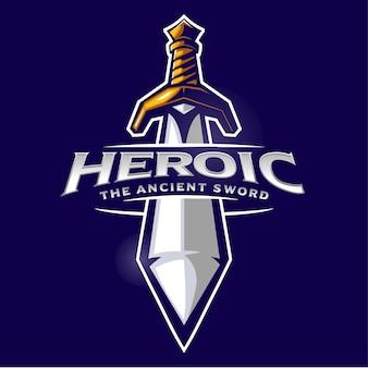 Logo de mascotte de l'arme ancienne épée