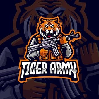 Logo de mascotte de l'armée tigre tigre avec pistolet