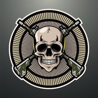 Logo de mascotte d'artilleur de crâne