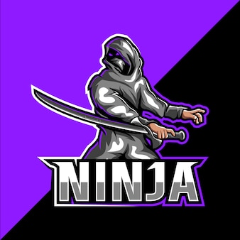 Logo mascotte assassin ninja esport