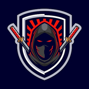 Logo de mascotte d'assassin ninja