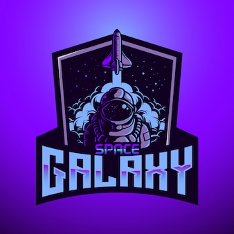 Logo mascotte astronaunt space galaxy