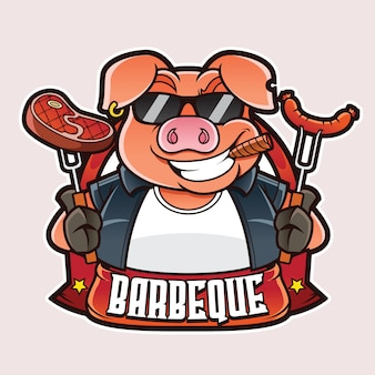 Logo mascotte barbecue