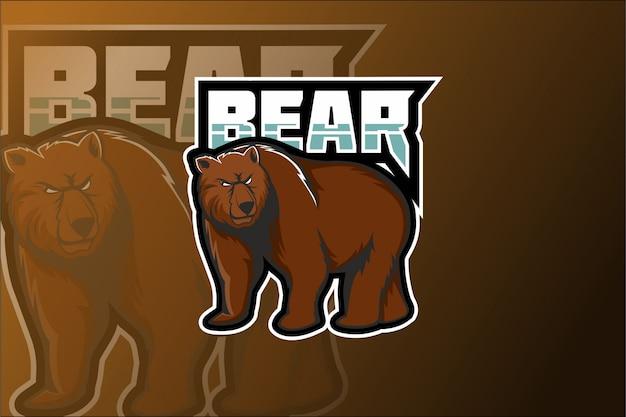 Logo de mascotte bear e sport
