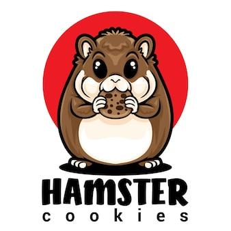 Logo de mascotte de biscuit de hamster