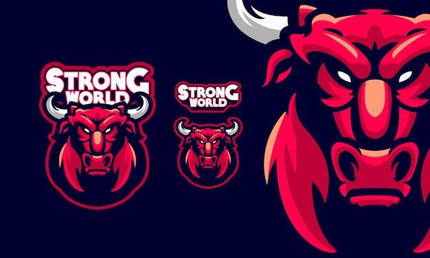 Logo de mascotte de bison en colère