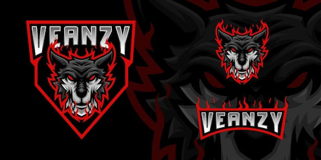 Logo de la mascotte black wolf pour le streamer esports et la communauté