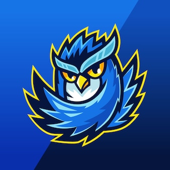 Logo mascotte bleu hibou esport team