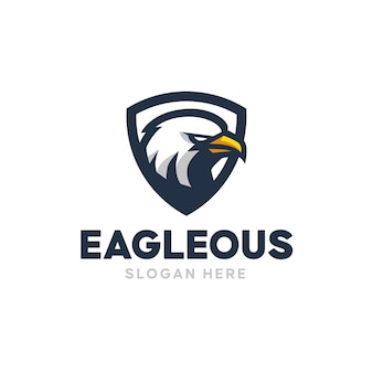 Logo de mascotte de bouclier d'aigle