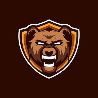 Logo de mascotte de bouclier d'ours