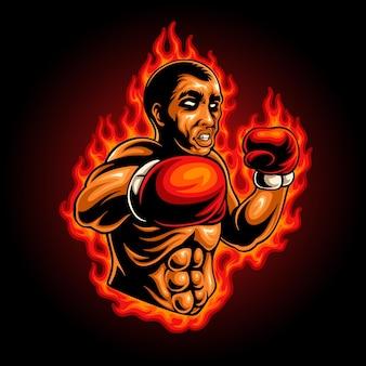 Logo de mascotte de boxeur enflammé