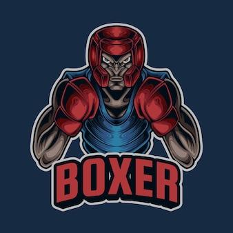 Logo de mascotte de boxeur