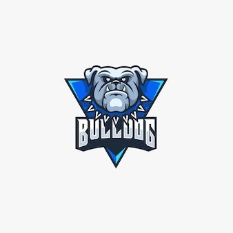 Logo de la mascotte bulldog angry pose e sport