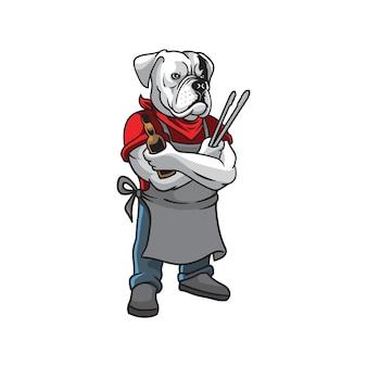 Logo de mascotte bulldog bbq