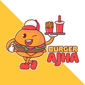 Logo de mascotte de burger mignon. kawaii