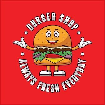 Logo de mascotte burger shop