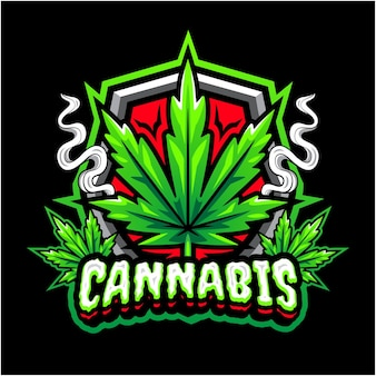 Logo de mascotte de cannabis