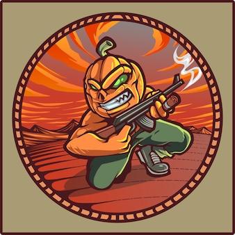 Logo de mascotte de canonniers citrouille
