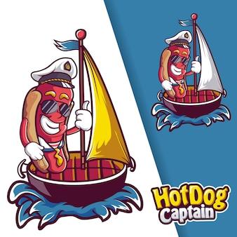 Logo de mascotte de capitaine de navire de saucisse hotdog