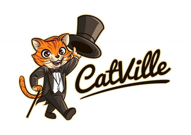 Logo de mascotte de caractère de chat chic