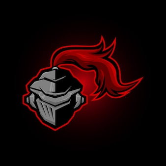 Logo de mascotte de casque de guerrier spartiate, équipe de logo e sport et illustration de t-shirt