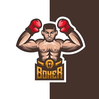 Logo de mascotte de champion de boxeur