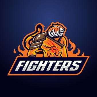 Logo de mascotte de chasseur de tigre