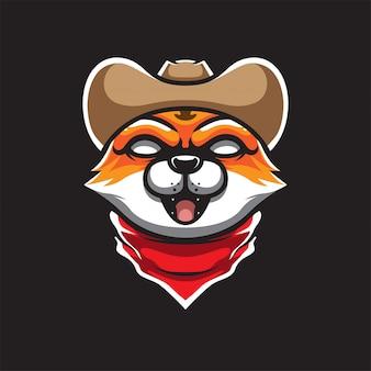 Logo de mascotte de chat cowboy