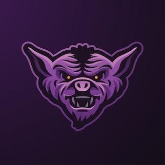Logo de mascotte de chauve-souris