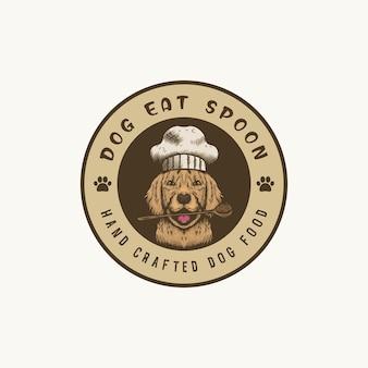 Logo de mascotte de chef de chien