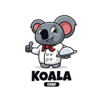 Logo de la mascotte avec le chef koala isolé sur blanc