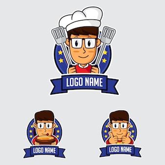 Logo de mascotte de chef