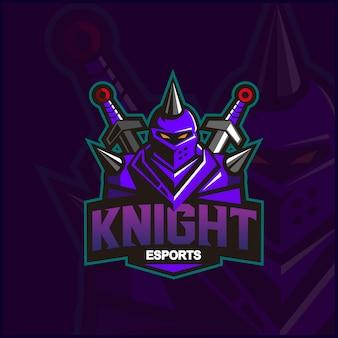 Logo de mascotte de chevalier dans