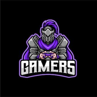 Logo de mascotte chevalier gamer