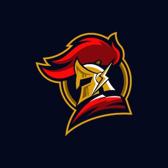 Logo de mascotte de chevalier guerrier