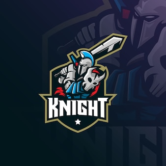 Logo de mascotte de chevalier avec un style d'illustration moderne pour l'impression d'insignes, d'emblèmes et de t-shirts.