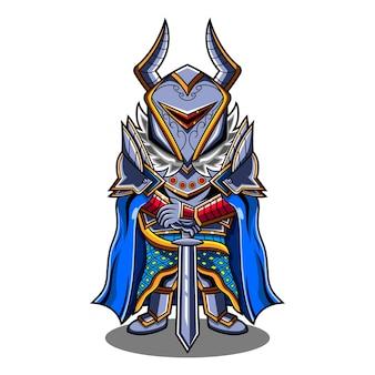 Logo de mascotte de chevaliers chibi