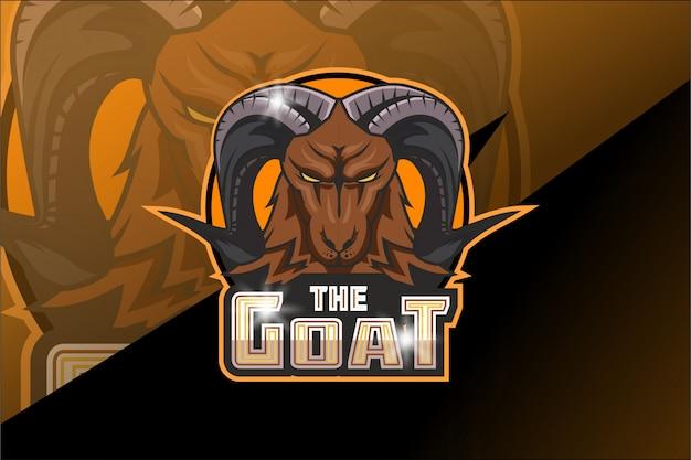 Logo de mascotte de chèvre e sport