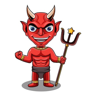 Logo mascotte chibi diable rouge