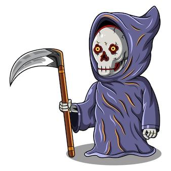 Logo de mascotte de chibi de faucheuse de crâne