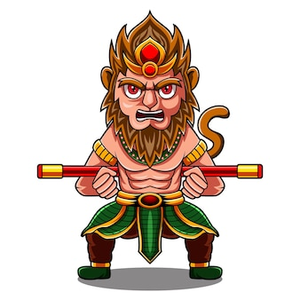 Logo de mascotte chibi roi singe