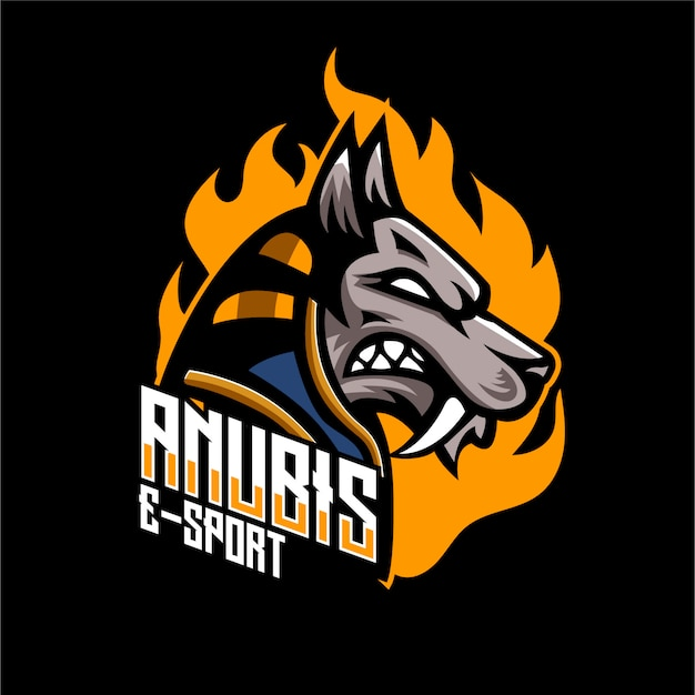 Logo mascotte chien anubis